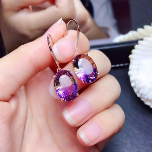 14K Rose Gold Drop Earring Natural Amethyst Gemstone Bizuteria for Women Pure Stone Aretes De Mujer Orecchini Kolczyki Earrings (purple) | akolzol