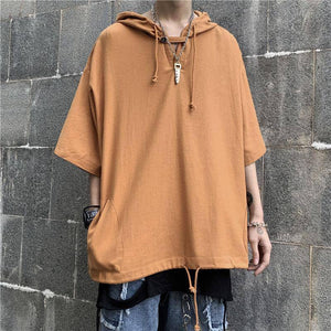Summer Hooded T Shirt Men's Fashion Solid Color Casual Short-sleeved T-shirt Men Streetwear Wild Loose Hip-hop Tshirt Mens | akolzol