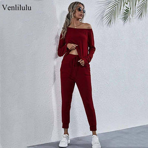 2021 Spring Two Piece Set Women One Shoulder Sweat Suit Female Casual Tracksuits for Women 2 Piece Sets Outfits Long Sleeve | akolzol