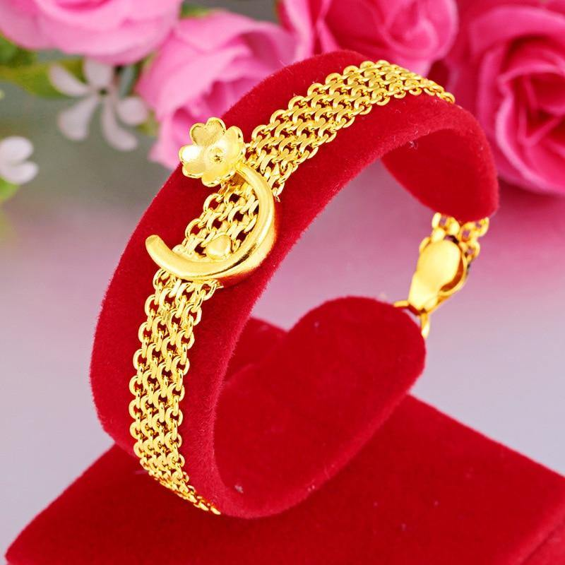 24K Gold Color Jewelry Bracelet for Women Bizuteria Pulseira Feminina Silver 925 Jewelry Pulseras De Plata De Ley 24K Gold Mujer (18cm Gold-color) | akolzol