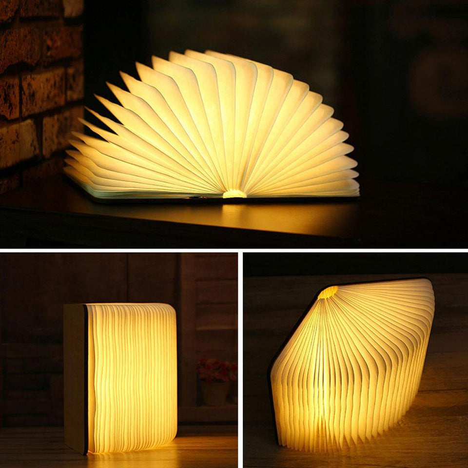 Led USB Lamp Book LED Night Light Leather 5V USB Rechargeable Magnetic Foldable Desk Table Lamp 3color Home Decoration | akolzol