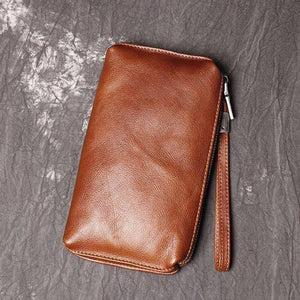 Natural Skin Vintage Men Clutch Bags Top Genuine Leather Casual Long Wallet Business Bags Small Phone Bag High Quality Purses | akolzol