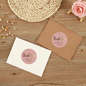 "500Pcs/Roll Sealing Label Stickers""Thank you ""Adhesive Stickers Kraft Baking Paper Tags For Gifts Craft Handmade Stationery 
