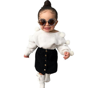 Autumn Toddler Baby Kids Girls Clothes Sets Long Sleeve Hairball Knit Tops Sweater+Button Mini Skirt Warm Outfits Sets | akolzol
