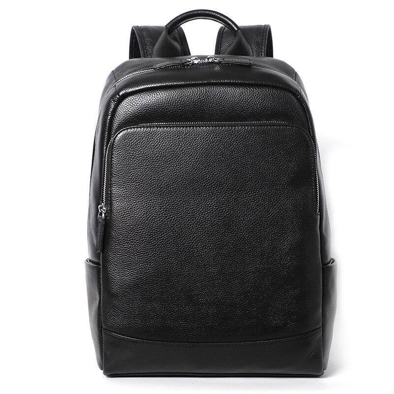 Designer genuine leather men bag backpack cowhide laptop bagpack travel black college bag mens school bags mochila masculina (Black) | akolzol