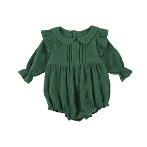 Newborn Baby Girls Romper Long Sleeve Lapel Collar with Buttons Bodusuit Spring Autumn Clothing | akolzol
