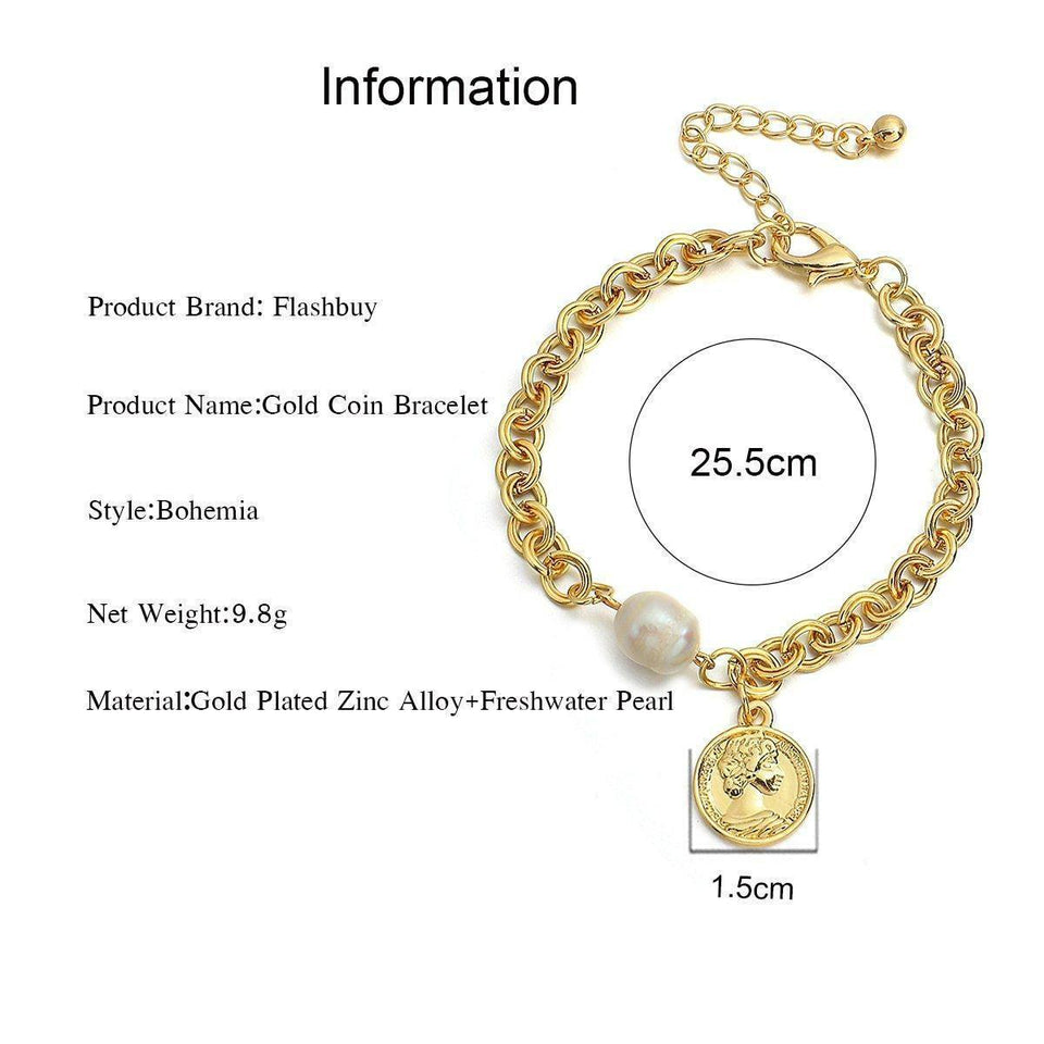 New Gold Color Portrait Coin Charm Bracelets for Women Pearl Metal Chunky Thick Chain Bracelet Fashion Jewelry Pulsera | akolzol