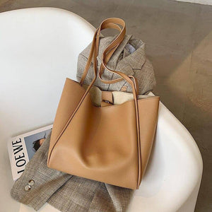 Large Capacity Pu Leather Shoulder Bags for Women Winter Simple Wild Design Handbags Women's Trending Big Tote Bag | akolzol