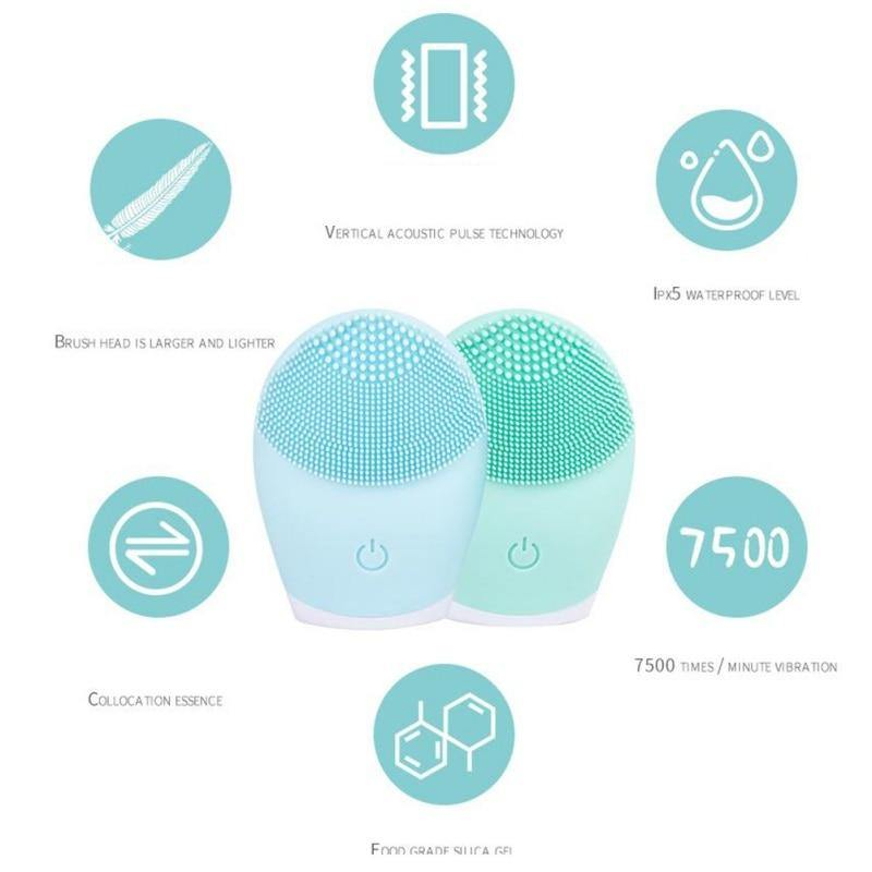 Waterproof Facial Silicone Face Cleansing Brush Electric Deep Pore Facial Washer Blackhead Remover Skin Care Face Cleanser | akolzol
