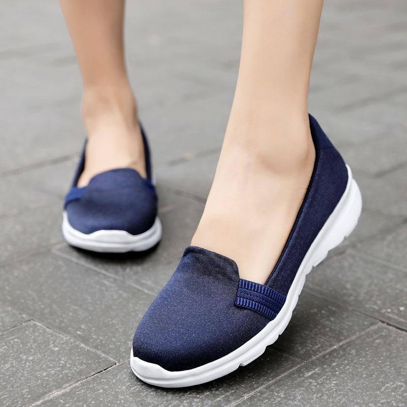Flat Shoes Women 2019 Fashion Slip On For Flats Ladies Loafers Casual Lightweight Breathable Mesh Walking Shoes Chaussures Femme | akolzol