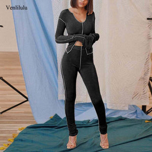 2020 Autumn Fitness Tracksuit Women Sets Workout Two Piece Set Women Outfits 2 Piece Elastic Sweat Suits Sweatsuit Ladies | akolzol