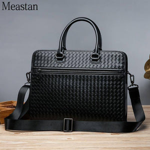 Men's Briefcase Luxury Woven Leather Laptop Bags Men Shoulder Handbag Office Business Travel Bag Bags for Documents Big | akolzol