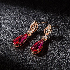 18 K Gold Jewelry Natural Ruby Rubellite Gemstone Drop Earring for Women Red Jade Aretes De Mujer 18K Hypoallergenic Earrings (Red) | akolzol