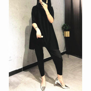 2020 winter women 2 piece outfits temperament high waist Pencil Pants slimming pleated aesthetic set plus size long shirt dress | akolzol