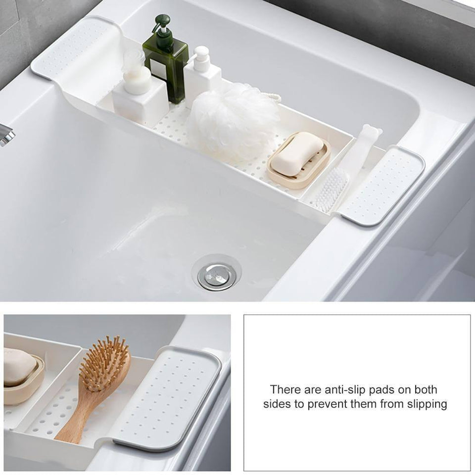 Retractable Plastic Shelf Bathtub Storage Rack Bathroom Drain Rack Bathtub Tray Kitchen  Bathroom Organizer Storage Accessories | Accessories, Bathroom, Bathtub, Drain, Kitchen, Organizer, Plastic, Rack, Retractable, Shelf, Storage, Tray | akolzol