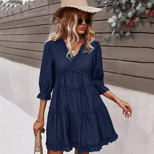 2021 Spring New Solid Dress Women Casual Three Quarter Sleeve V Neck Mini Dress For Woman High Waist Summer Dress | akolzol
