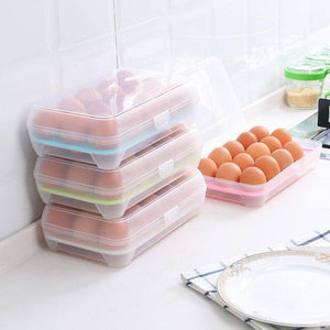 14/15 Grids Plastic Egg Storage Box Kitchen Refrigerator Fresh Egg Holder Anti-Collision Transparent Egg Container Kitchen Item | akolzol