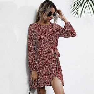 Autumn Winter Asymmetrical Dress Women Casual Full Sleeve Slim Leopard Bandage Print Short Dress For Women 2020 New | akolzol