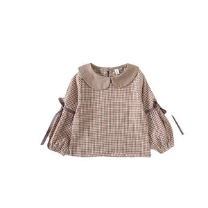 New Baby Collar Shirt Ribbon Checked Children's Long Sleeve Jacket Girls School Blouses Children Girl Top Blouse | akolzol