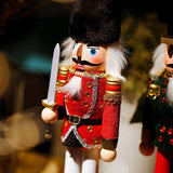 Creative Wooden Dolls Crafts Nutcracker Soldiers Puppets Cavalry Home Decorations Christmas Gifts Children's Room Small Decor | akolzol