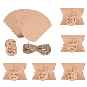 10pcs Kraft Paper Candy Box With Thank You Label Wedding Birthday Party Gift Box Baby Shower Favors Decoration Package Boxes | akolzol