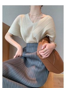 pleated aesthetic Korea shirt trendy clothes for women summer 2020 V-neck chiffon plus size shirt half batwing sleeve top | akolzol