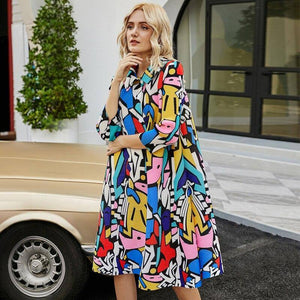 2020 autumn winter women plus size pleated dress geometric painting designer dress button dress indie folk aesthetic clothes | akolzol
