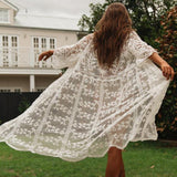 See through beach wear Transparent sexy lace swimsuit cape for women Long sleeve vintage bikini cover up beach cloak 2020 (X20SW2906 One Size) | akolzol
