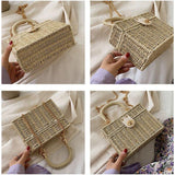 Fashion Chain Design Weave Straw Bag New Summer Wild Small Shoulder Crossbody Bags For Women 2020 Female Casual Beach Handbags | akolzol
