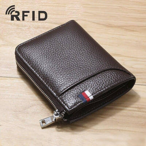 Luxury Fashion Genuine Leather Men Zipper Wallet Rfid Short Money Bag Designer Coin Purse Male Business Wallet Portomonee | akolzol