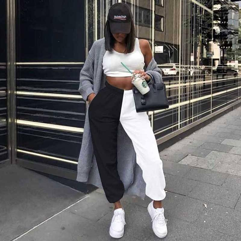 2020 Half Black Half White Pants Women Trousers Sweat Baggy Pants Women Joggers High Waist Sweatpants For Women Streetwear | akolzol