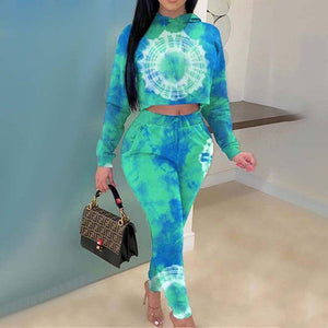 2020 Autumn Tie Dye Tracksuit Women Sets 2 Piece Tie Dye Set Sweat Suits Women Two Piece Set Sweatsuit Outfits For Women | akolzol