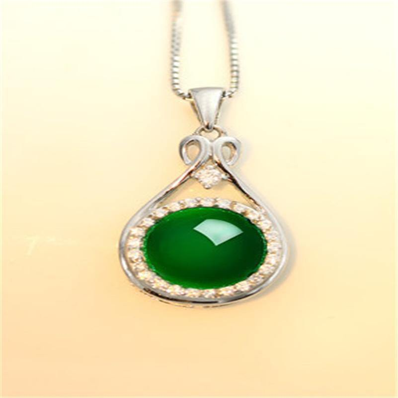 S925 Sterlinig Silver color Necklace Collares Natural Emerald and Green Jade Gemstone Pendant Women Silver 925 Jewelry Pendant (green) | akolzol