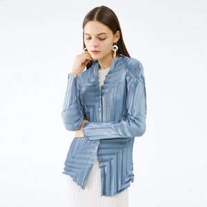 Heavy Industries pleated Long Sleeve Shirt blouse women 2020 Korean fashion Plus Size Clothing Casual button up shirt | akolzol