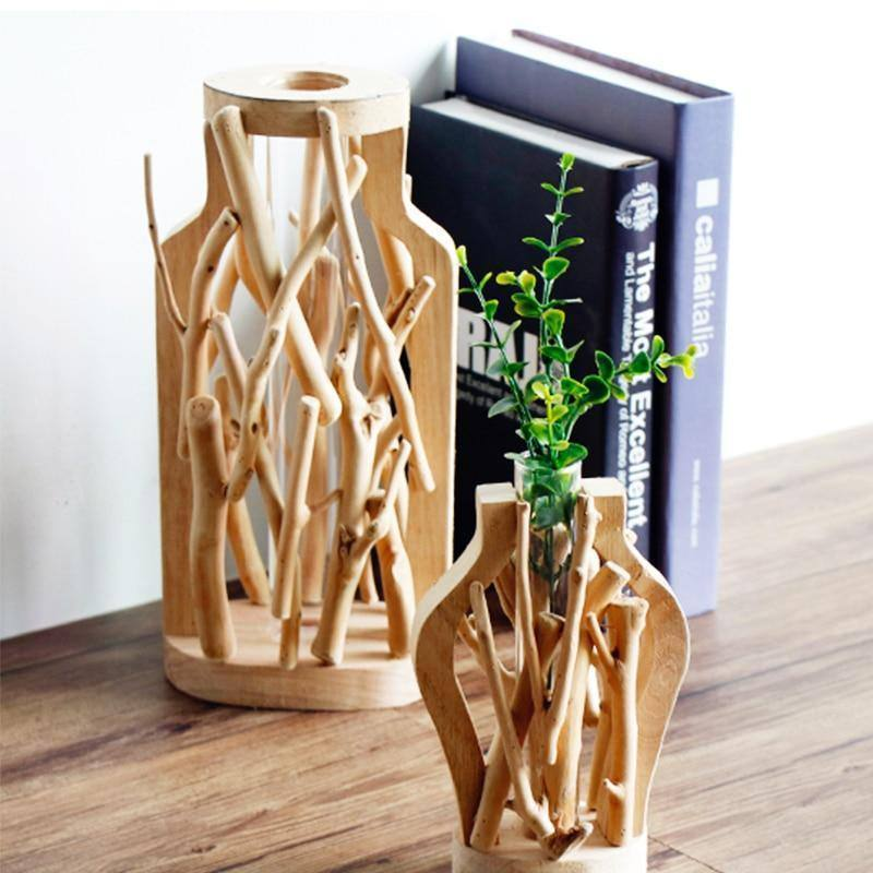 Pure handmade wooden vase pastoral micro landscape creative solid wood glass flower hydroponic container home decoration vase | akolzol