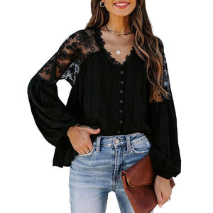 Spring Autumn Loose Large Size Lace Shirt Women Long-sleeved Solid Color V-neck  Chiffon Shirt Fashion Women Fall Clothing 2021 | 2021, Autumn, Chiffon, Clothing, Color, Fall, Fashion, Lace, Large, Longsleeved, Loose, Shirt, Size, Solid, Spring, Vneck, Women | akolzol