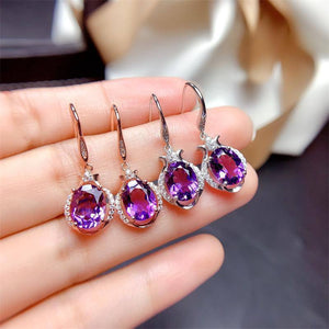 14K Rose Gold Jewelry Natural Amethyst Gemstone Earring Women 925 Jewelry Bizuteria Aretes De Mujer Garnet Drop Earrings | akolzol