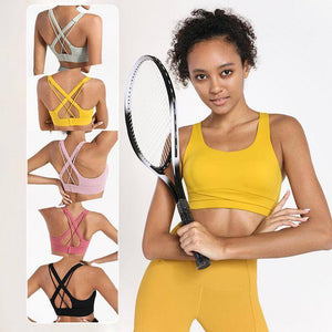 DoubleCross Beauty Back Sports Bra Comfy Seamless Buckle Sexy Top Fitness Underwear Women Sport Bras Yoga Gym Tops Padded Ladies | akolzol