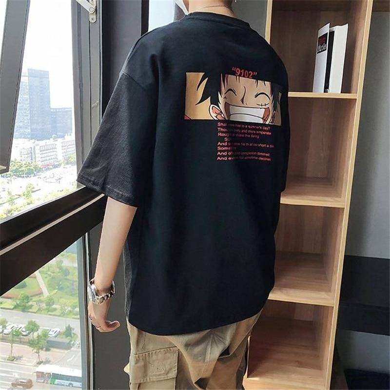 Cool T shirt casual one piece t-shirt boys anime summer top tees 2020 Half Sleeve Luffy Tshirt Streetwear Funny Male Casual Tees | akolzol
