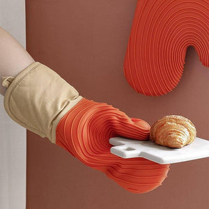 Nordic simple thick silicone high temperature resistant kitchen baking gloves | akolzol