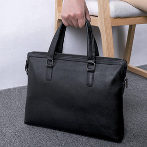 Natural Skin Men's Casual Briefcase Genuine Leather Shoulder Handbag New Messenger Bag Soft Cowhide Business Bag Man Laptop Bags (Black) | akolzol
