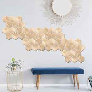 5pcs Three-dimensional Waterproof Wall Stickers 3D Splash Proof Wall Panel Hexagon Shape Home Decorative Kitchen Tile Wallpaper | akolzol