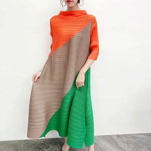 pleated dress fall 2020 summer new color matching long dress loose plus size women bohemian clothing | akolzol