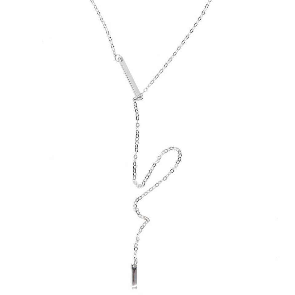 2017 925 sterling silver high quality name silver bar lariat long silver chain women necklace 925 (Platinum Plated) | 2017, 925, bar, chain, high, lariat, long, name, necklace, quality, silver, sterling, women | akolzol
