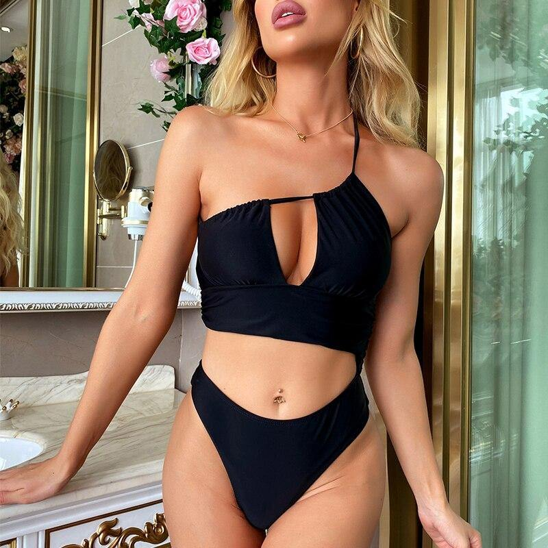 Hollow Out Women Swimsuit Sexy One-shoulder Monokini High Cut Swimwear Female Black Bandeau Bathing Suit Sport Beach wear | akolzol
