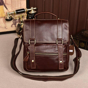 Retro Cowhide Leather Briefcase Male Vertical Business Genuine Leather Bag Fashion Male Totes Bag Handbag Shoulder Messenger Bag | akolzol