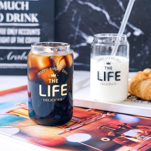 380ml Transparent Glass Breakfast Cup Coffee Tea Milk Yogurt Mug Creative Letters Printed Heat-Resistant Coke Can Drinkware | akolzol