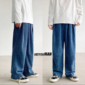 Autumn Corduroy Pants Men's Fashion Retro Casual Drawstring Straight Pants Men Streetwear Loose Hip-hop Pleated Trousers Mens | akolzol