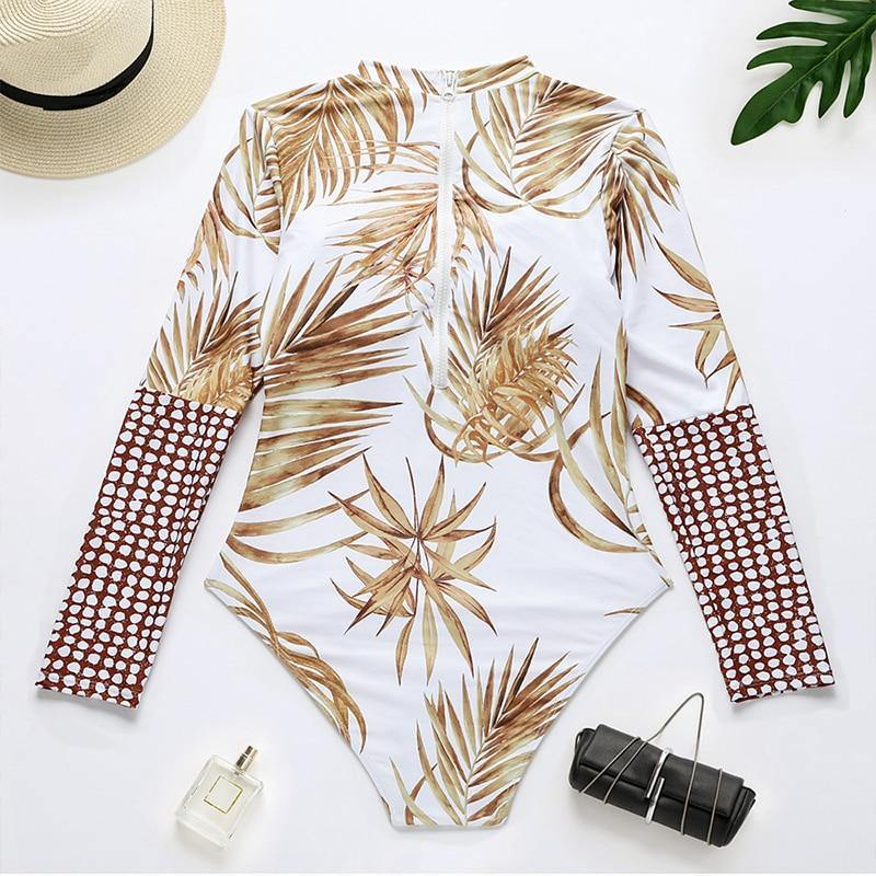 Sexy high cut swimsuit Long sleeve one-piece suit Plant print patchwork swimwear women High neck bathing suit Monokini | akolzol