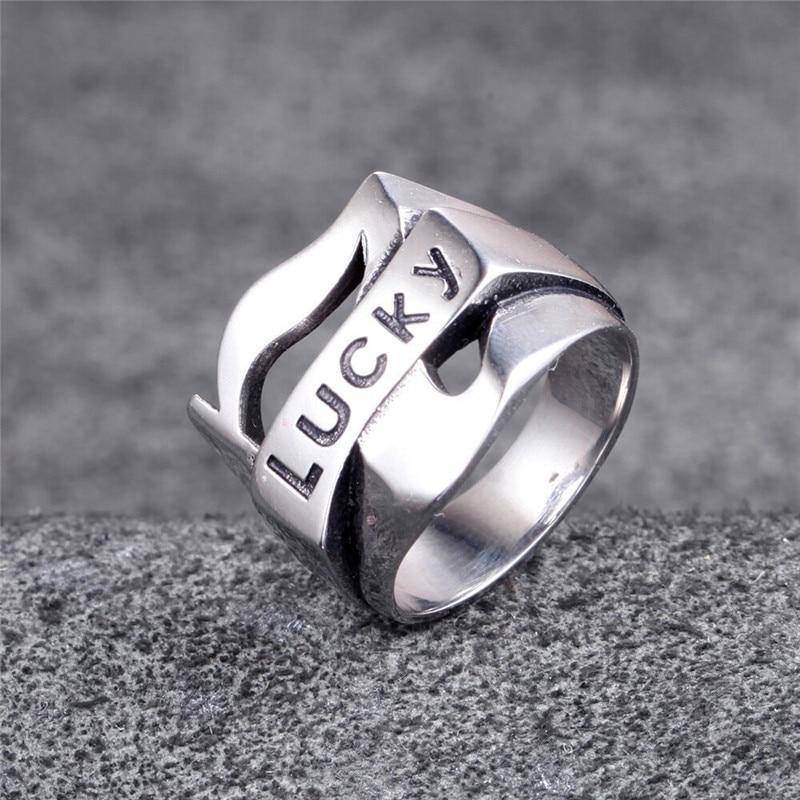 European and American personality vintage lucky 7 LUCKY men's stainless steel ring | akolzol